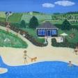 Landskab med juli og sommerhus og sand