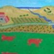 Landskab med røde køer og udsigt til klitter