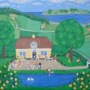 Landskab med sommer og folk på cafe