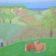 Landskab med forår og jyske heste