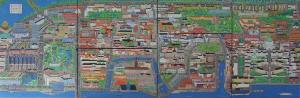 Prospekt over Købehavn fra havnen til søerne. 100x305. 2013-2016