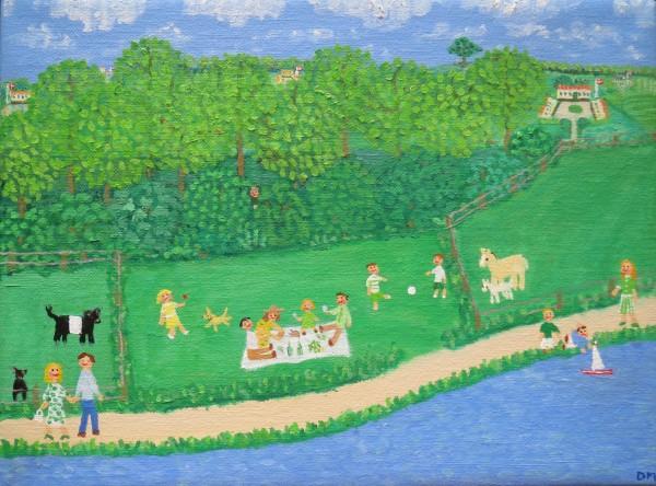 Landskab med juni og pinsefrokost i det grønne. Værk nr. 37 2013, Løbenr. 6.06. Indgået i version 10